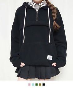 99bunnyZip-Neck Drawstring Hoodie | mixxmix | Shop Korean fashion casual style clothing, bag, shoes, acc and jewelry for all