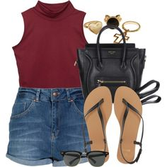A fashion look from June 2014 featuring Miso shorts, ASOS sandals and CÉLINE handbags. Browse and shop related looks.