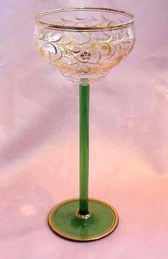 Tall Cut & Gilded Bohemian Wine Stem