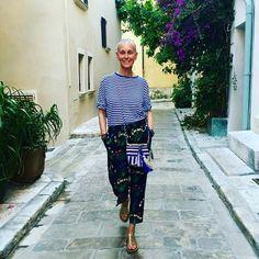 St. Tropez Je t'aime!!!! #CrimsonCashmere exclusive striped TEE #Valentino Silk pj's #Rondini goldTropezienne sandales #CrimsonCashmere Cotton Bag