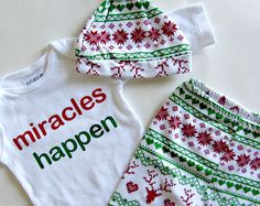 First Christmas Baby 1st Christmas My First Christmas Miracles Happen Christmas Leggings Christmas Outfit Baby Girl wholesale baby clothes