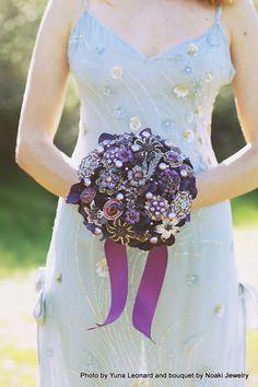 Aubergine brooch bouquet deposit on a madetoorder bridal by Noaki, $170.00