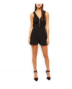 Black Zip Front Sleeveless Playsuit  | New Look