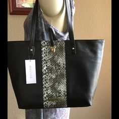 New Kenneth Cole reaction Squire tote with tags New, see pics, PVC, very roomy tote, Python print, w black, 18 X 14 x 5 Kenneth Cole Reaction Bags Totes