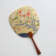 Uchiwa-fan Greeting Card - Bush Warbler on the Red and White Blooming Plum Tree Jewelry Design Drawing, Hand Held Fan, Plum Tree, Semi Transparent, Designs To Draw, Red And White, Greeting Cards, Bloom, Japanese