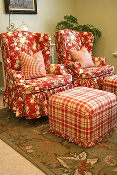 great cottage floral with a 3/4 length gathered skirt for the wing backs and a coordinating plaid for the ottomans.