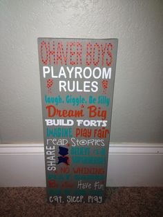 Personalized Wooden Boys Playroom Rules by SwirlyTwirlyDesigns, $50.00