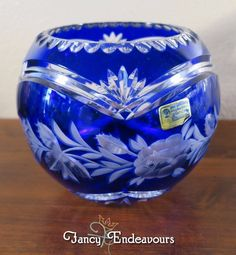 Cobalt Blue Cut to Clear Lead Crystal Rose Bowl Lausitzer Glas #LausitzerGlas