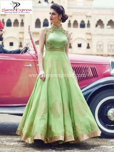 Green Emboidered Partywear Crop Top Lehenga Gown