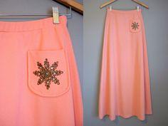 Holiday Christmas Maxi Skirt Vintage Pastel by InTheHammockVintage, $20.00
