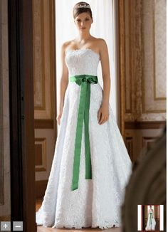 David's Bridal gown with a green sash for St. Patrick's season bride! Irish traditional music for your wedding? irishtradmusic@sbcglobal.net