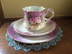Lefton China Hand Painted Tea Cup Heavenly Rose Cup Saucer Plate Three Piece Set | eBay China Dinnerware, Vintage Table, Cup And Saucer, Heavenly, Pond, Tea Cups, Hand Painted, Plates, Antiques