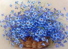 wonderful basket of flowers Art Floral, Blue Flowers, Beautiful Flowers, Painting Templates, Purple Orchids, Tree Print, Flower Basket, Color Of Life, Botanical Prints
