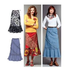 Patchy Skirts - Kwik Sew - K3789.  Looks comfortable and looks like fun to play with fabrics and my collection of old jeans.