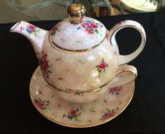 Gold Trim Multicolor Pink Floral Tea Set  for One- Tea pot, Cup and Saucer!