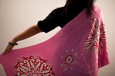 Pink Silk Scarf Hand Painted Batik Pink Shawl by BorneoBatikraft, $90.00