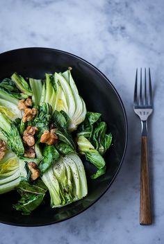 Simple Roasted Baby Bok Choy with Walnuts