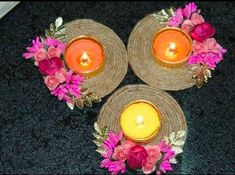 Diwali Decoration Items, Thali Decoration Ideas, Diwali Decorations At Home, Handmade Decorations, Diwali Candle Holders, Diwali Candles, Diwali Diya, Diwali Craft, Paper Crafts Magazine