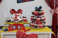 Mickey Mouse Clubhouse birthday party cake and cupcakes! See more party ideas at CatchMyParty.com!