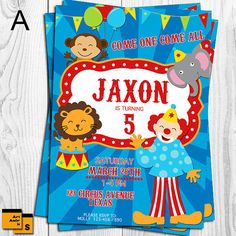 CIRCUS invitation circus birthday party animal by ArtAmoris