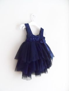 Navy Blue Empire Waist Baby Tulle Dress with by AylinkaShop