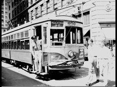 When Atlanta had streetcars. 1945 peachtree st.