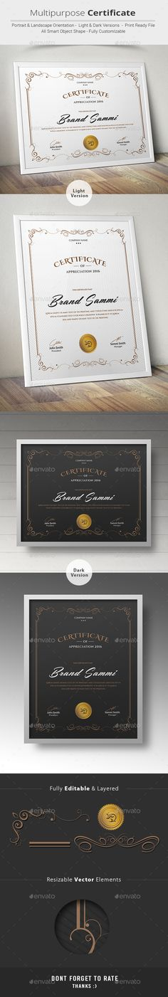 Multipurpose Certificate Template PSD. Download here: http://graphicriver.net/item/multipurpose-certificate/14407073?ref=ksioks