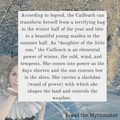 I'm enchanted by the old lore of the world – especially the Celtic goddesses. The Cailleach is one of the most fascinating, powerful and terrifying of the Celtic goddesses. Celtic Paganism, Celtic Mythology, Elemental Powers, Celtic Goddess, Hedge Witch, Beltane, Coven, Gods And Goddesses, Book Of Shadows
