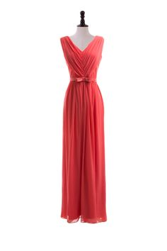V-Neck Chiffon Dress with Satin Belt @Emily Schoenfeld Schoenfeld Litke what about something like this for bridesmaids?