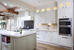Hand Painted Kitchen With Modern Feel, HERITAGE COLLECTION, Hand Painted, Straight lines, crisp design, fresh modern colours all add to the overal impact of this bespok... - O'Connor Kitchens Kitchen Paint, Kitchen Design, Kitchen Cabinets, Straight Lines, Modern Colors, Home Kitchens, Crisp, New Homes, Hand Painted