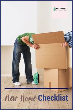 Wondering what essentials you need for your first house? Get this free first home checklist and get collecting what you need. Our first home checklist is a free printable just for you! Moving Day, Moving Tips, Moving House, First Home Checklist, Moving Checklist, Household Products, Household Items, New Home Essentials, Housekeeping Tips