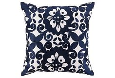 Cassandra 20x20 Embroidered Pillow, Navy on OneKingsLane.com