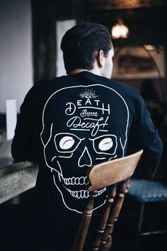 """Hubby's birthday is coming up, and he would love this """"Death Before Decaf"""" shirt...  ~~ Houston Foodlovers Book Club"""