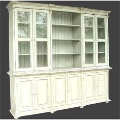 "Transitional China Cabinet from Whoa!, Model: 04308 Comes in Green, Blue, Gray, Natural, White. 100"" wide. Probably too long but I like it."
