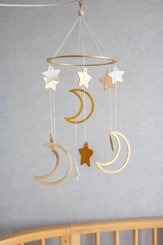 Baby mobile moon and stars – Crib mobile – baby mobiles – nursery mobile – wooden mobile – mobile bebe – star mobile – mobile hanging - Mobile Info Cool Baby, Fantastic Baby, Star Mobile, Mobile Mobile, Hanging Mobile, Baby Kicking, 3d Laser, Decoration, Nursery Decor