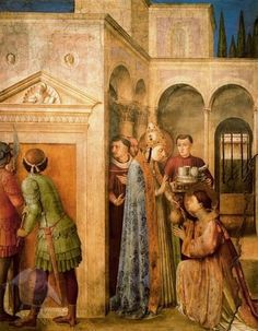 Fra Angélico - San Lorenzo recibe los bienes de la Iglesia de manos de San Sixto