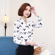 133ab4b6dbbd4 Aliexpress.com   Buy New Women Blouses Shirts Chiffon Stand Collar Long  Sleeve Print Geometric Black White Casual Shirt Tops Blusas Plus Size 3XL  from ...