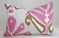 IN STOCK / Pink Grey Olive Green Ikat Lumbar by StitchandBrush