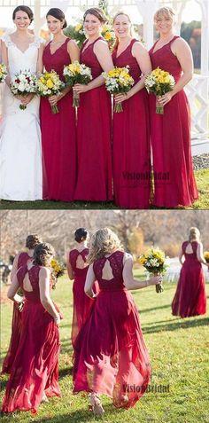 Beautiful Red V-Neck Lace Top A-Line Long Chiffon Bridesmaid Dress, Charming Bridesmaid Dresses, VB0475 #bridesmaiddresses