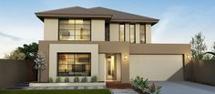Modern house exterior brown double storey