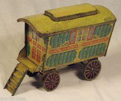 anyique jacob's gypsy caravan figural biscuit tin 1937 tinplate van car