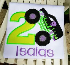 Top off a smashing party with this grave digger Inspired monster truck birthday shirt. Shirt can also be done in other colors . This shirt is made up neon green, black, and purple and has a small skull embroidered on the truck. You can add any # to the shirt as well as a name. This listing is for a short sleeve but you can choose long sleeve at checkout. You may also choose between a white or gray shirt.