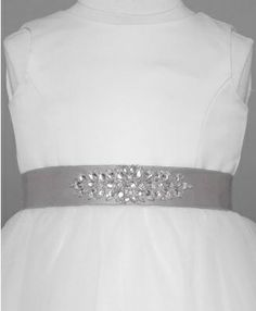 Add some sparkle to your flower girl's dress with this lovely sash! Satin Sash with Beaded Front Detailing Style G21604. Shown in Mercury; available in other colors. At David's Bridal. #winterwedding