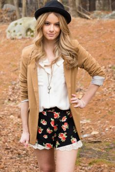 Meadows and Reeds: {Fashion Friday}Spring Fashion Lace and Floral Tan Blazer + Fedora Hat + Floral shorts