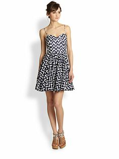 MILLY - Gemma Zigzag Fit-And-Flare Dress - Saks.com