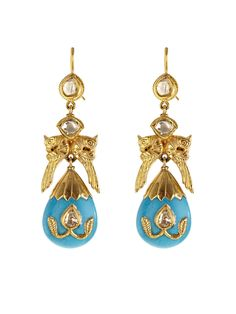 Jade Jagger gold, turquoise and diamond earrings