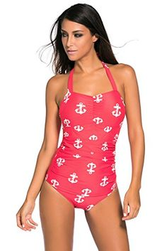 77ffdb39f0d Tiksawon Womens Sexy Vintage One Piece Monokini Swimsuit Swimwear XXL Red *  Learn more by visiting