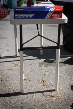 Folding Table Height Hack The legs are extended by using simple plumbing pipe. Once the table legs are unfolded, the feet rest right inside, creating a workable height table that would be perfect for buffets or working on a craft/diy project that doesn't mandate sitting.