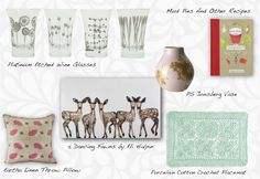 Neutral spring decor for the home featuring: 5 Dancing Fawns by Eli Halpin , Crochet Placemat from World Market, Eartha Linen Pillow from Tulu, Mudpies and Other Recipes from Anthropologie, and Platinum Etched Wine Glasses from @Jay Hart Home