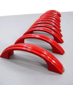 12 RED Metal Drawer Pulls  ART DECO Style by UrbanRenewalDesigns